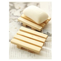 Wash Bathroom Accessories 9*7cm Natural Wood Soap Tray Holder Dish Case Storage Shower