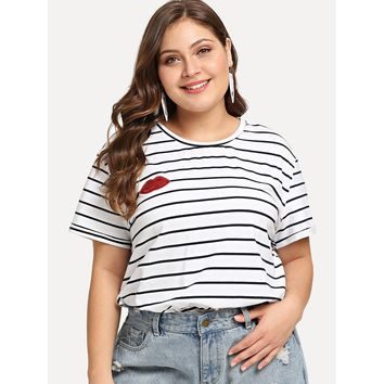 Plus Sequin Red Lip Striped T-shirt