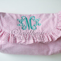 Monogrammed Ruffle Clutch, Diaper clutch, Make up bag
