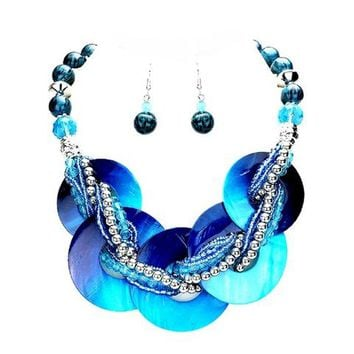 Blue Abalone Necklace Earrings Set Jewelry