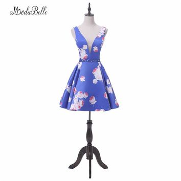 modabelle 2018 Vintage Floral Blue Homecoming Dresses Short Juniors Robe De Cocktail Flower Pattern Party Prom Dress women
