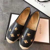 Gucci Embroidery Stars Flat Shoes PU Women Sandals Shoes Black