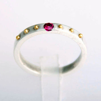 Silver & Gold Thin Ring Band with Pink Tourmaline