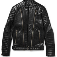 Balmain - Quilted Grained-Leather Biker Jacket