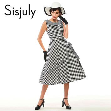 Sisjuly Vintage Women Plaid Dress 50s Round Neck Plaid Sleeveless 1950s vestido de festa 2017 Mini Women's Dress Party Dresses