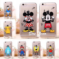 2016 newest For Apple iphone 6 case 4.7 inch Transparent Cute Cartoon Darts Mickey Snow White Phone cases Back cover cell phones