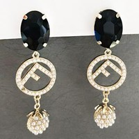 Fendi New fashion gem pearl long earring women Black