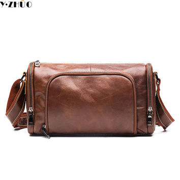 really cowhide small men travel bag genuine leather luggage bags designer mans shoulder bag vintage crossbody duffel bags