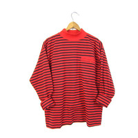 80s Striped Shirt Boxy Long Sleeve Red Black Top MOCK NECK Basic Pullover Shirt Unisex Pocket Shirt Preppy Grunge Mens Womens TShirt M L