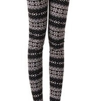 Women's Winter Snowflake/Reindeer Patterned Fleece Lined Leggings