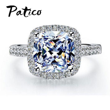 PATICO Luxury 100% 925 Sterling Silver Rings for Women Wedding Engagement Acessories Cubic Zirconia Jewelry Big Promotion