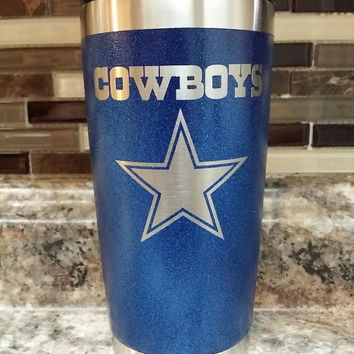 Stainless Steel Cowboys Metallic Blue Tumbler/Ozark/RTIC/stainless steel Cowboys tumbler/Xmas gift/Xmas/RTIC/RTIC tumbler/insulated cooler