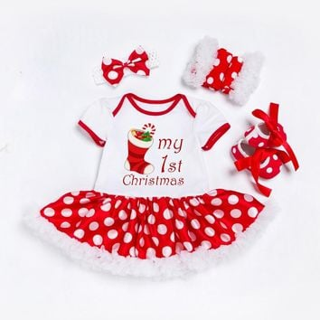 My First Christmas Newborn Clothes Set Baby Girls Dress Cotton Mesh Ruffle Girl Christening Gowns 4pcs Birthday 1st Dress Set