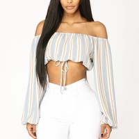 Makenzie Off Shoulder Top - Blue/Multi