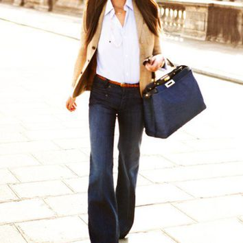 Style Inspiration, Fall/Winter / wide legs jeans, white shirt, blazer