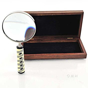 Magnifier in wood box- 4 inches Hancrafted Nautical Decor