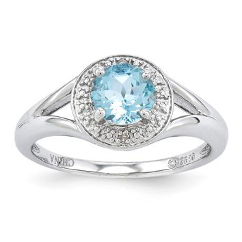 Sterling Silver Diamond & Aquamarine March Birthstone Ring