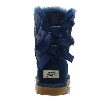 UGG Women Bow Fur Leather Boots Half Boots Shoes5