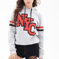 FOREVER 21 NYC Varsity Hoodie Heather Grey/Red