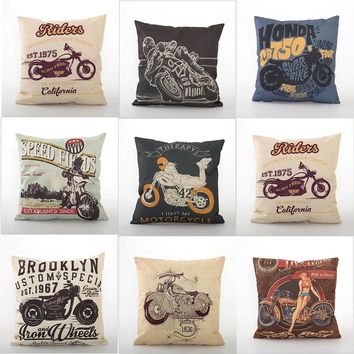 Motorcycle Linen  Home Car Pillow Fashion Cartoon Cotton pillow  45 * 45cm High Quality Square Comfortable
