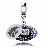 Kansas State Wildcats Football Drop Charm Fits All Pandora Style Bracelets. College Jewelry