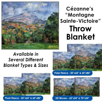 """Paul Cézanne's """"Montagne Sainte-Victoire"""" Throw Blanket / Tapestry Wall Hanging"""