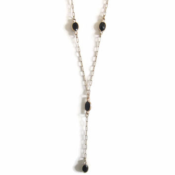Vintage 10K Yellow Gold Sapphire Y Necklace