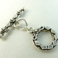 Sterling Silver Toggle Clasp Fancy Oxidized 26mm Bar 18mm Ring