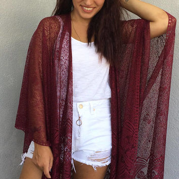 Lace Beach Kimono, Burgundy Boho Kimono, Long Fringed Kimono, Oversize Cardigan, Swimsuit Cover Up, Sheer Cover Up, Beach Poncho, WomenTop