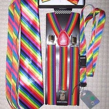Rainbow Swirl Unisex Adjustable Bow tie,Neck Tie,Suspenders,Lanyard,Shoelaces-V3