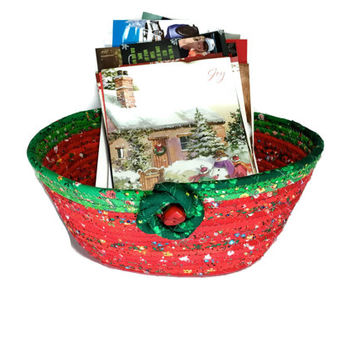 Coiled Rope Basket  Christmas Card Holder  Holiday Clothesline Organizer  Fiber Art Decor  Quilted Fabric Bowl Christmas Red Green Tableware