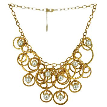 Circles and Pearls Cluster Necklace