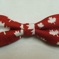 Canada Maple Leaf Red White New Bow Tie Men Pretied Adjusts Handmade BowTie | Gustys - Accessories on ArtFire