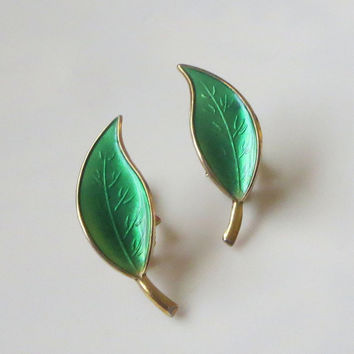 Green Leaf Earrings, David-Andersen, Enamel Norway Sterling Clips, Basse-Taille & Gold Wash, Lovely!
