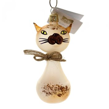 Golden Bell Collection TRANSLUCENT BROWN CAT Christmas Ornament Glittered An764