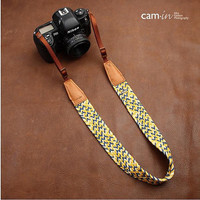 Cam-in - Handmade Leather and Cotton  Woven Camera Strap in Brown- CAM8783-2