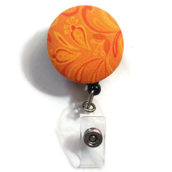Fabric Covered Retractable Badge Reel Orange Paisley Keychain Lanyard
