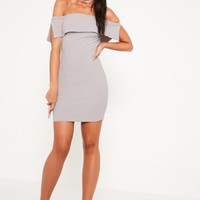 Missguided - Grey Bandeau Overlay Bodycon Dress