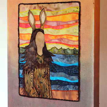 Nanabozho, Wenabozho, Native American, Anishinaabe, art quilt on canvas