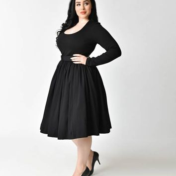 Vixen by Micheline Pitt Plus Size Vintage Black Long Sleeve Troublemaker Swing Dress