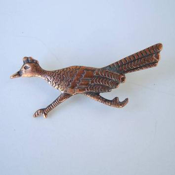 Bell Copper Small Roadrunner Pin Engraved Vintage Jewelry