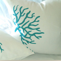 White/Turquoise Coral Design Linen 16 X 16 Pillow by MicaBlue