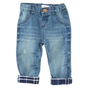 Mud Pie PLAID LINED PLAY JEANS