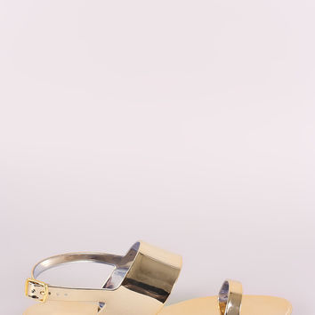 Qupid Metallic Double Band Slingback Jelly Flat Sandal