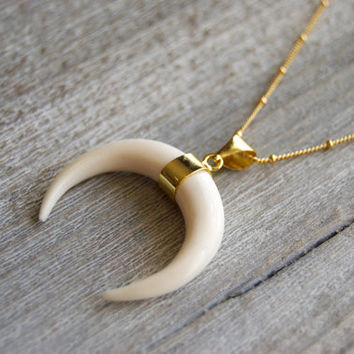 Crescent Moon Necklace // Hand Carved Buffalo Horn Pendant // Boho Jewelry // Layering Necklaces