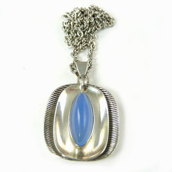 Modernist Jewelry - 1960's Silver Blue Chalcedony Pendant on Chain