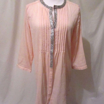 Chico's Gauze Tunic Shirt Women's 0 Peach Color Beaded Edging 3/4 Sleeves Soft