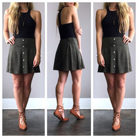 A Crushed Velvet Mini Skirt in Olive