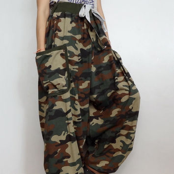 Green Army CAMO String tie waist Long Trouser, Unisex Drop crotch harem pants unique,Cotton Blend(pants-AJ1).