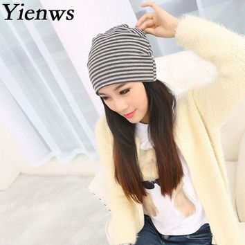 Yienws Spring Striped Skullies And Beanies Hats For Women Cotton Headgear Female Slouch Cap 2 Uses Hats Bonnet Femme YIC074